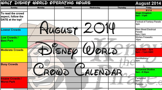 KennythePirate's August Walt Disney World Crowd Calendar - includes Character Palooza times @ DHS (5:10pm on specific days)