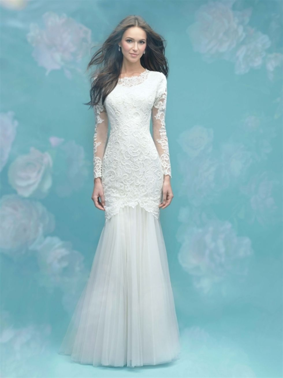 Modest mermaid wedding dress with high neck, long sleeves and tulle ...