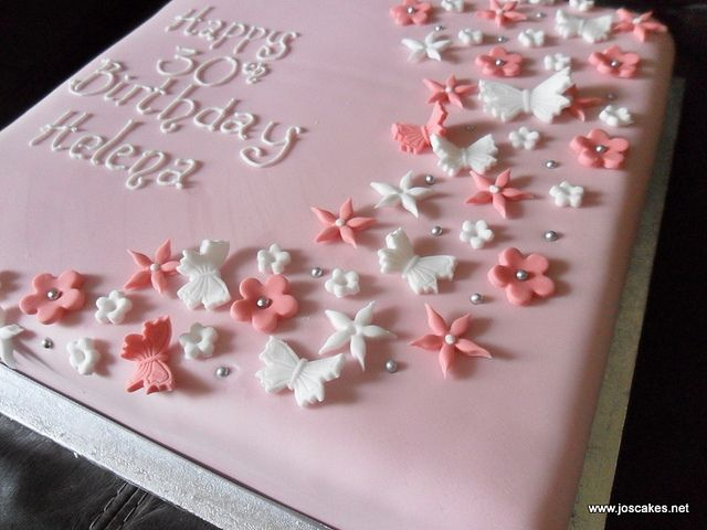 Single Tier Butterflies And Blossoms Birthday Cake Birthday Cake
