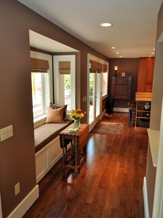 Great color combinations! Beautiful Red Oak stained hardwood floors!