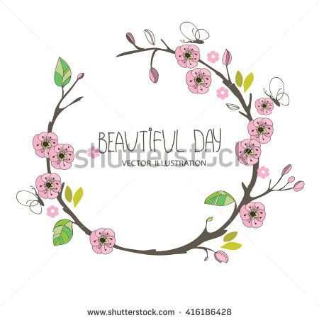 spring  with a pattern of branches with pink flowers, on a white background and the inscription beautiful day