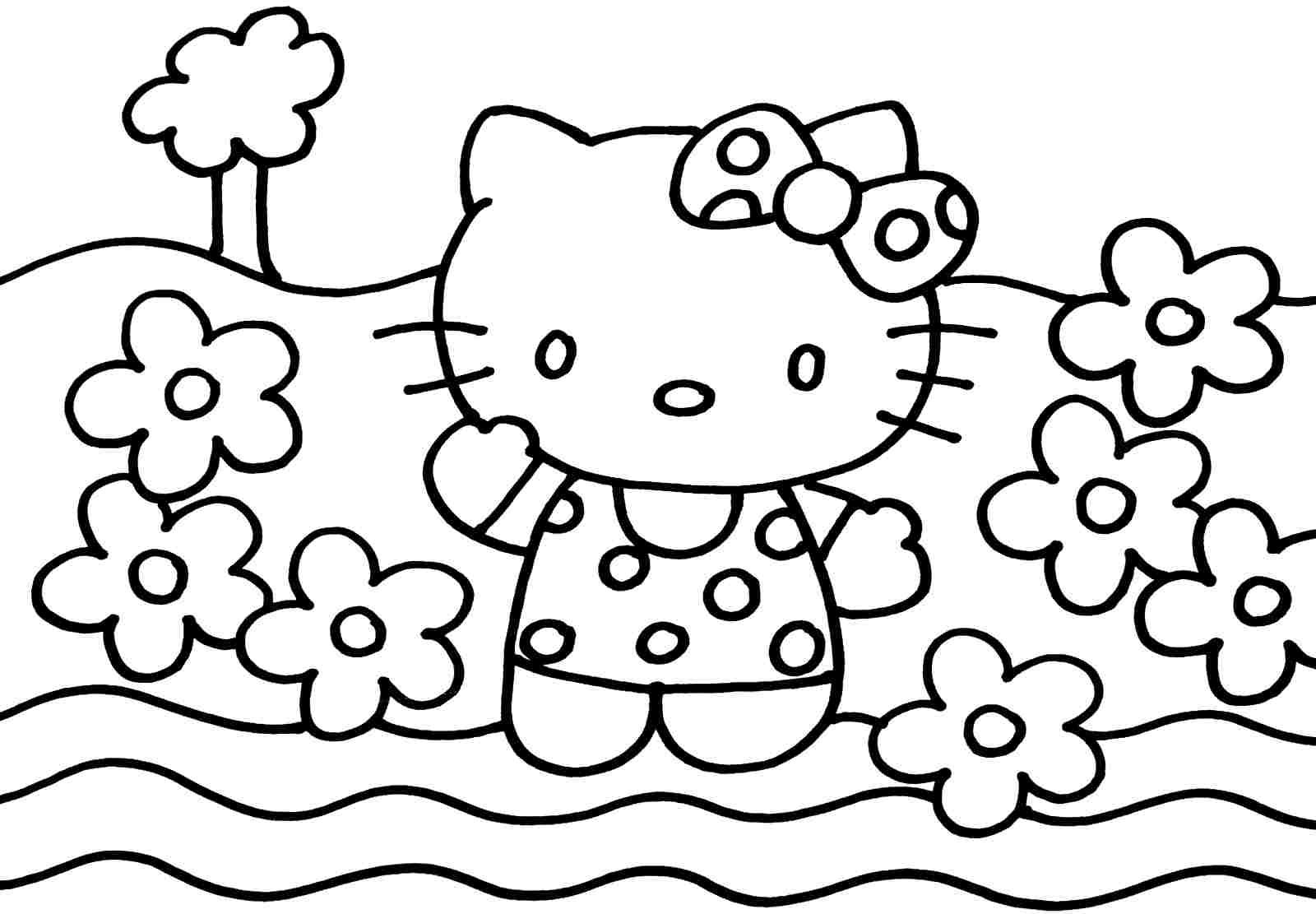 Printable Coloring Sheets Cartoon Hello Kitty For Boys Girls Id