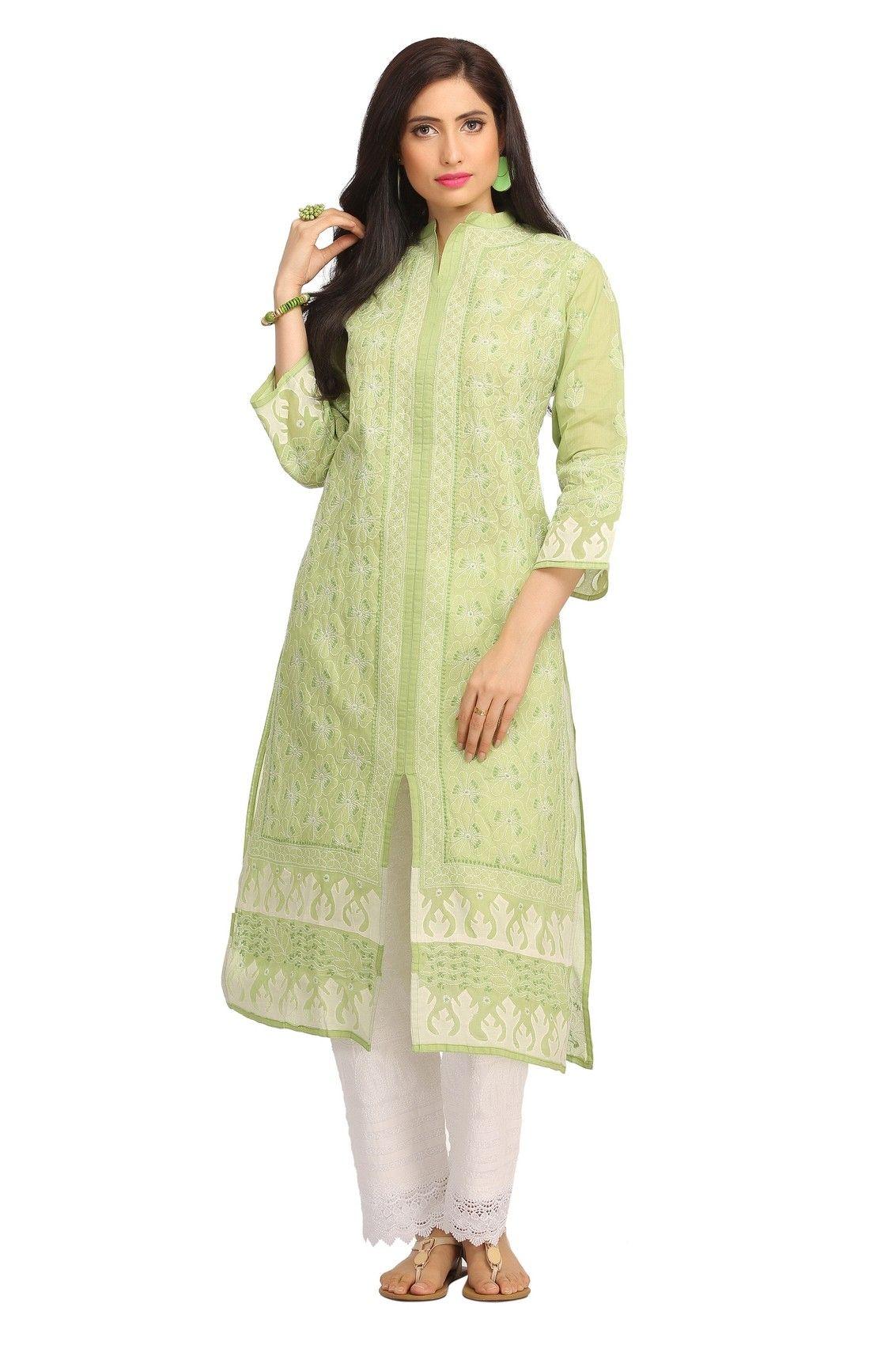 3b3b894aec Ada Hand Embroidered Green Cotton Lucknowi Chikankari Kurti-A118339 ...