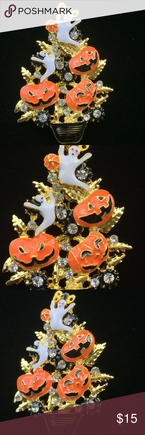Ghost pumpkin halloween tree pin brooch pendant (With
