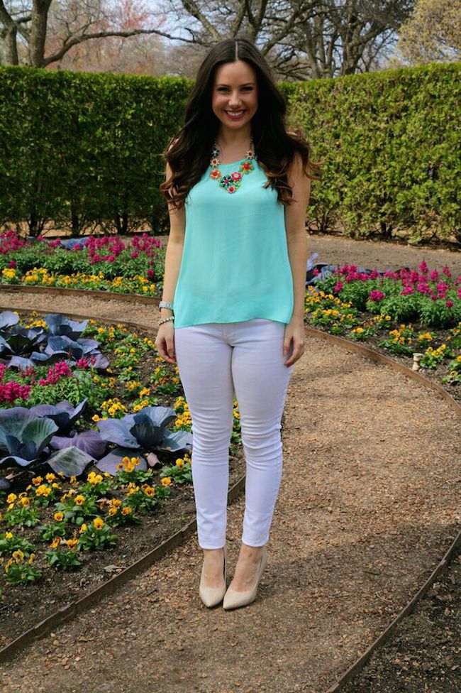 Mint Green Top And White Jeans Spring Pastel Outfit Ideas