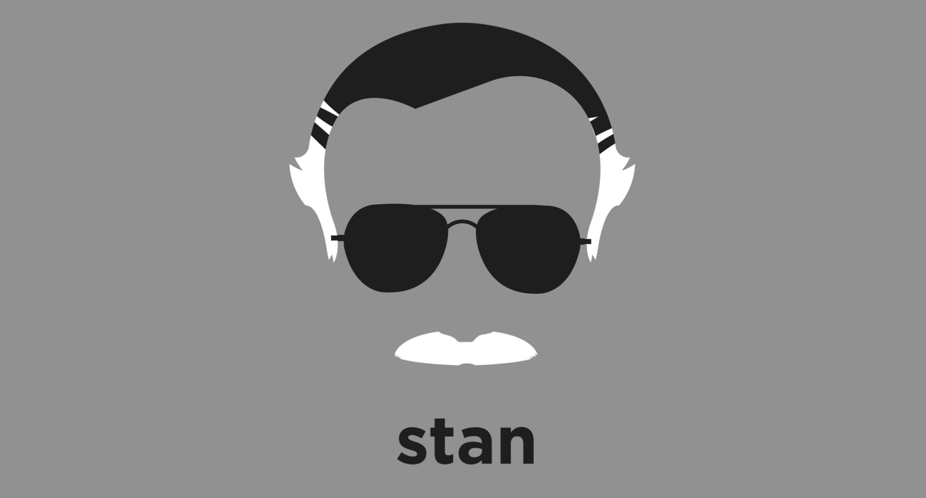 A T Shirt With A Minimalist Hair Based Illustration Of Stan Lee Greetings True Believer Here Before You We Have The Most Magnific Stan Lee Lee Writer Shirts