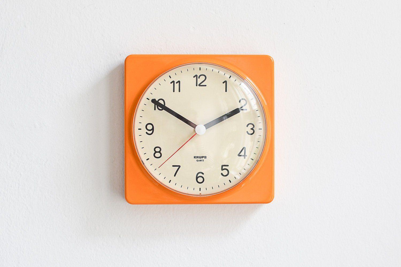 Vintage Krups Uhr Wanduhr Orange 70er Wand Uhr Krups