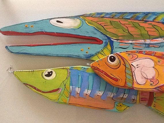 Fish painted wood sculptures 23.514.512 Fresh by pamsmithartist