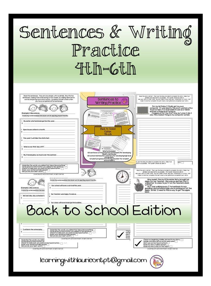 Sentences For Writing Practice 4th 6th Back To School Edition Writing Practice Writing Practice Worksheets Teaching Ela [ 1104 x 816 Pixel ]