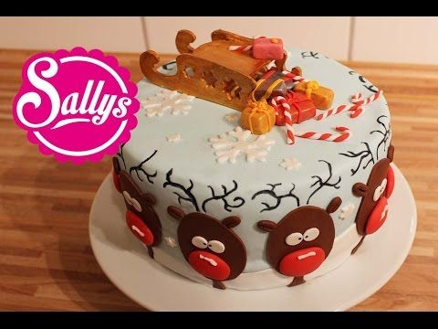 Weihnachtstorte mit RentierMotiv  Rendeer Christmas Cake  Rentiertorte in 2019  Motivtorte