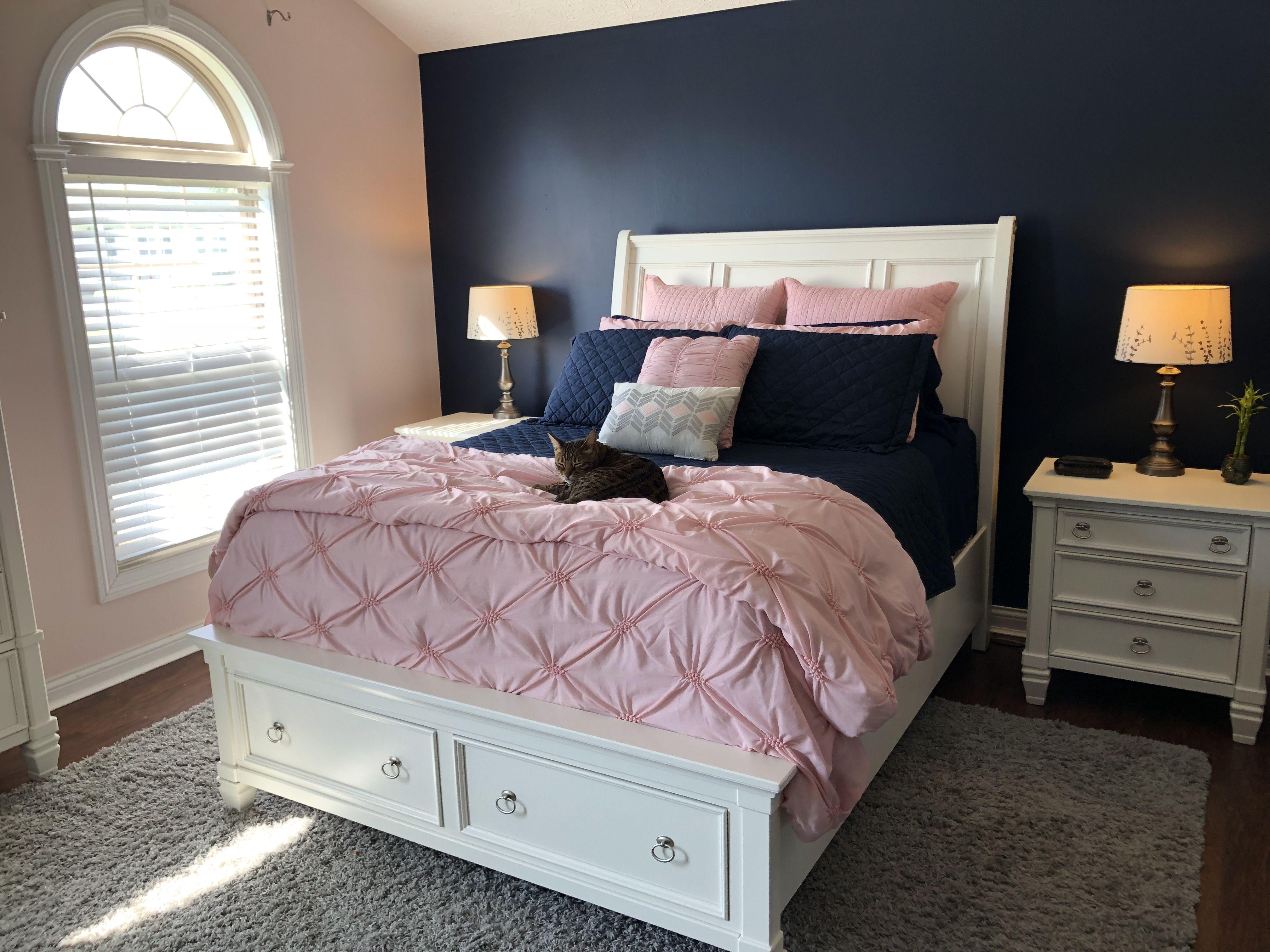 Blush Pink And Navy Master Bedroom Navy Master Bedroom Master