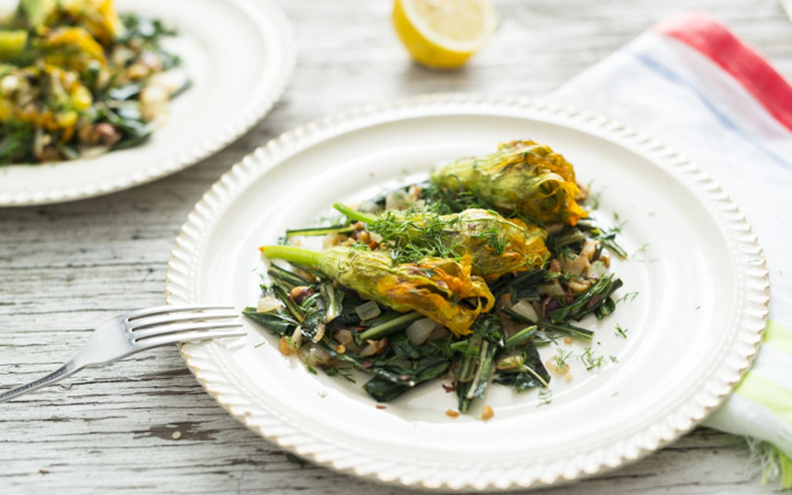 These stuffed squash blossoms were made with a mixture of corn, okra, asparagus, dill, and garlic.