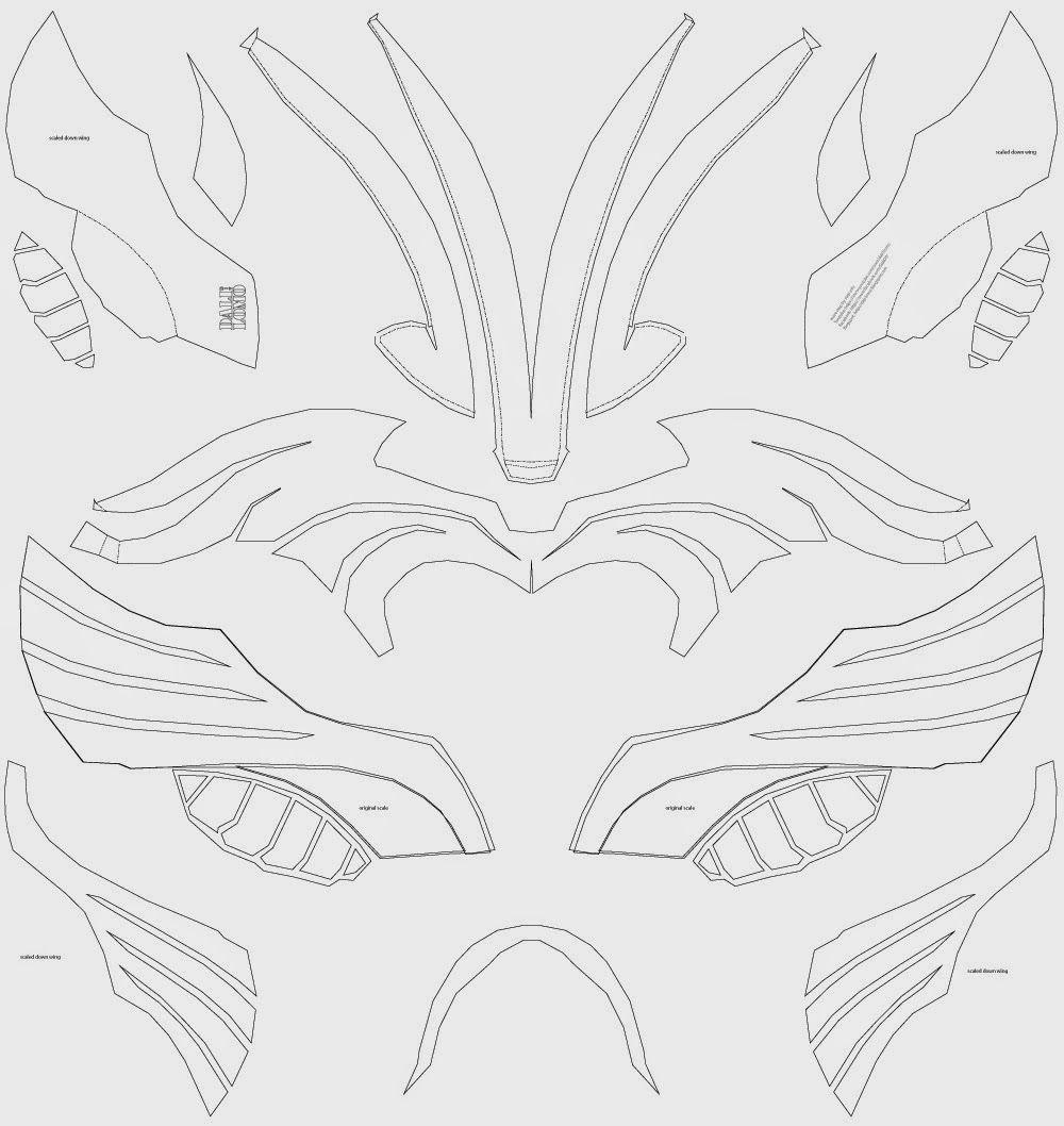 Thor helmet foam cut out, template, unfold, pattern | CUYA ...