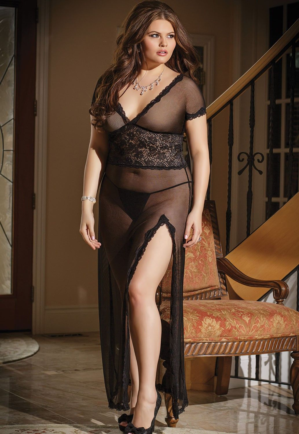 Online Shop Plus size New sexy lingerie pyjamas spandex lace short sleeve V  neck long style see-through with T pants 5ef28f9b1977