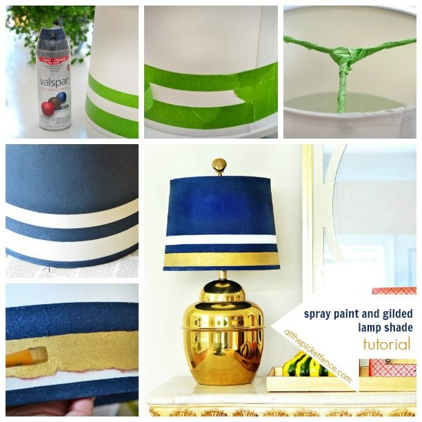 Brass Lamp Makeover: Gilded And Spray Painted Lamp Shade   At The Picket  Fence