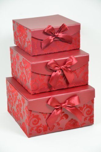 Red Swirl Nesting Elegant Christmas Gift Boxes, Set of 3, With Bows, Magnetic Closure -- See this great image  : Wrapping Ideas