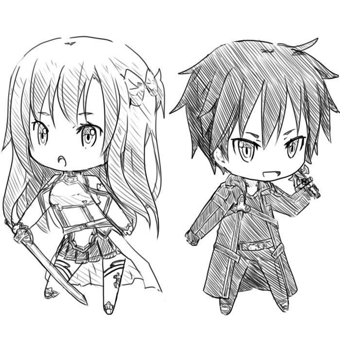 Chibi Asuna and Kirito!! I didn't draw these, but I'm ...