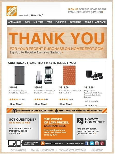 Transactional Email Example From Home Depot Transactional