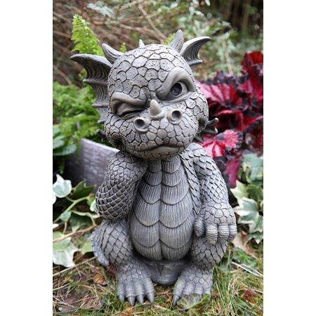 Ebros Le Penseur The Thinker Whimsical Garden Dragon Statue 10 H Cute Baby Dragon Winking Eye Faux Stone Resin Finish Dragon Garden Dragon Decor Fairy Statues