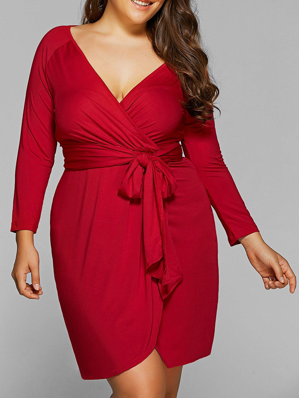 Red lace dress plus size  Long Sleeve Plus Size Knot Wrap Dress  Wrap dresses Wraps and Autumn