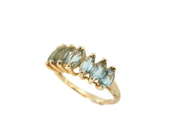 Blue Topaz 10k Gold Ring Seven Marquise Stones December Birthstone Sky Blue Topaz Ring Blue Topaz Ring Blue Topaz Jewelry