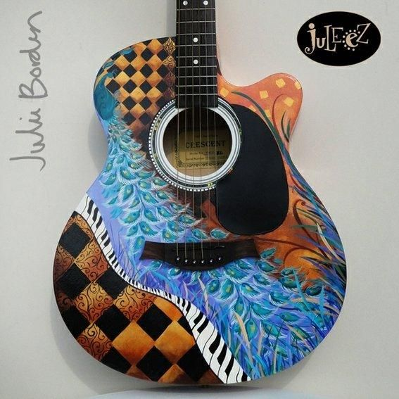 Hand Painted Guitar Such Cool Designs Guitar Painting Guitar Acoustic Guitar