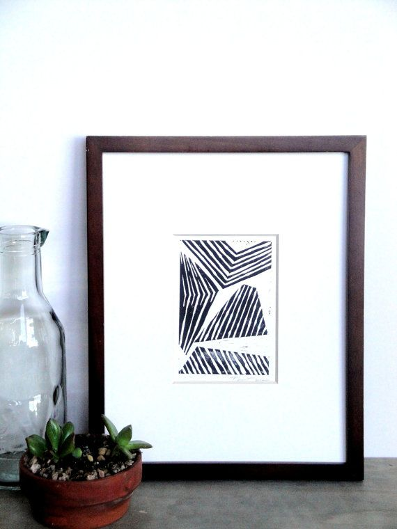 Sale print abstract modern lines and shapes linocut 4 x 6 wall art black gray gold silver blue green yellow red
