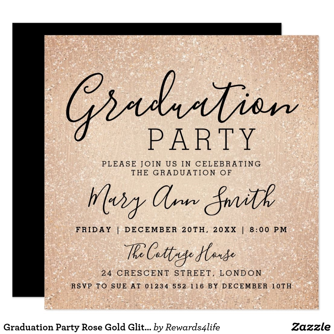 graduation party rose gold glitter paint card elegant modern rose gold glitter look paint graduation party invitation template easy to personalize