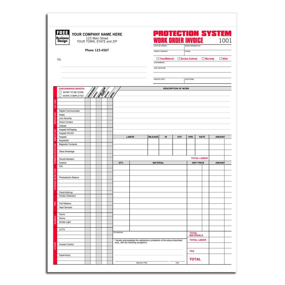 Protection Services Work Order  Work Order Forms