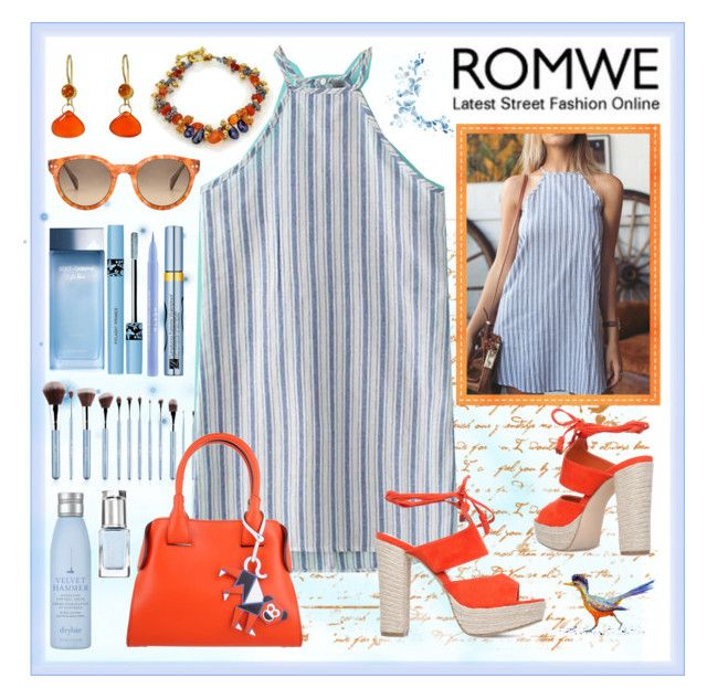 """ROMWE: Halt Traffic Halter Dress."" by tjclay3 ❤ liked on Polyvore featuring Mallary Marks, SALT., Stila, Estée Lauder, Drybar, Dolce&Gabbana, Leighton Denny, Tod's, Blue and orange"
