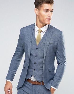 22f9f02ae36ce9 ASOS WEDDING – Superenge Anzugjacke mit marineblauem Hahnentrittmuster  Hellblauer Anzug
