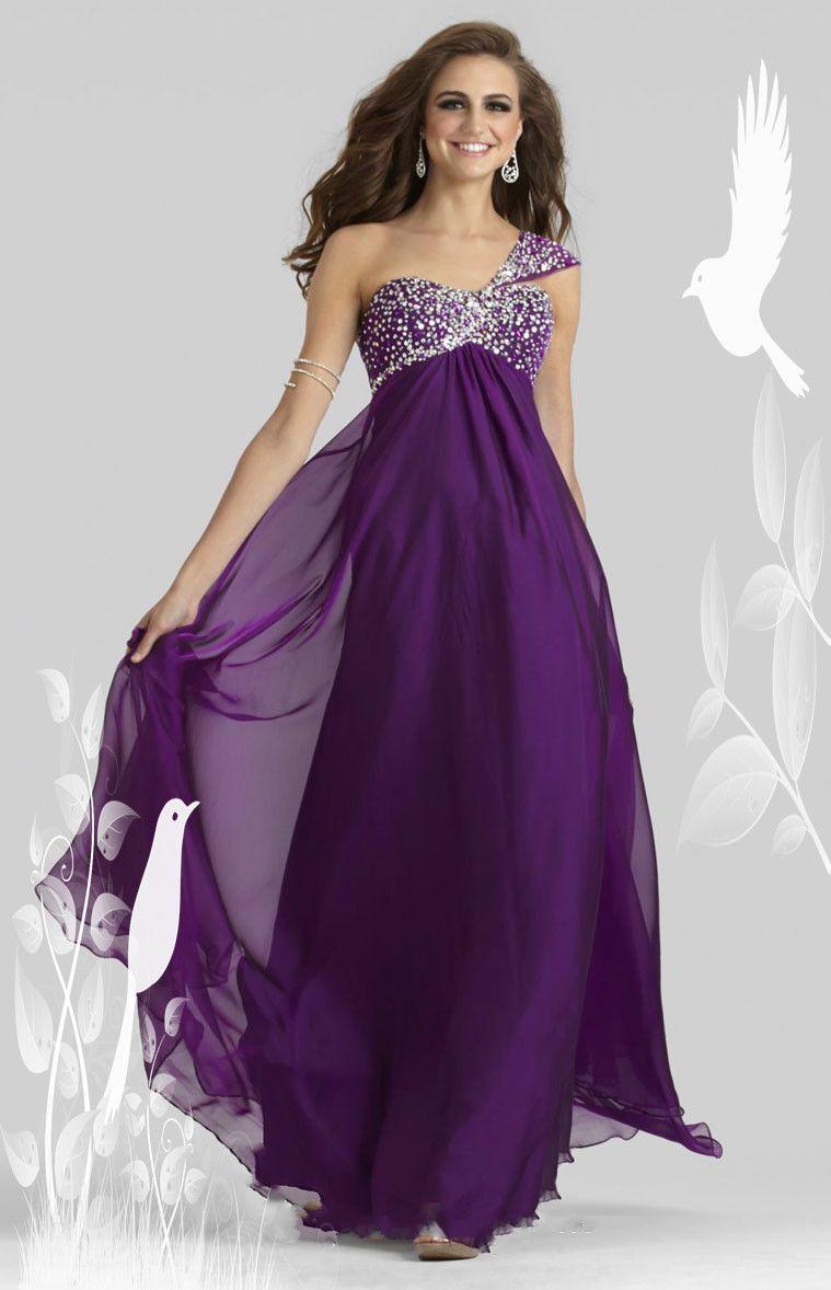 One Shoulder Empire Chiffon Long A-line Prom Dress☜▤♡♡♡♡♡ | I ...