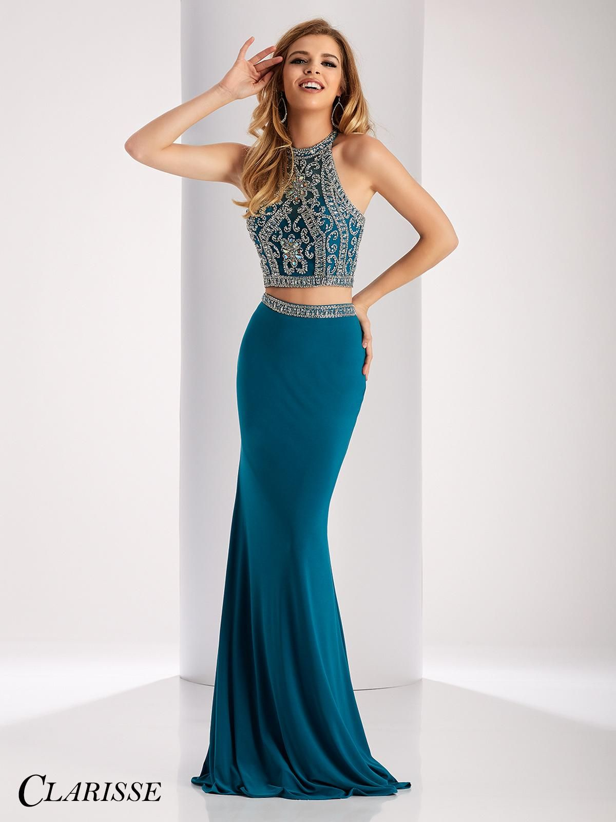 STYLE: 3006 DESCRIPTION: Two piece fitted prom dress with ...
