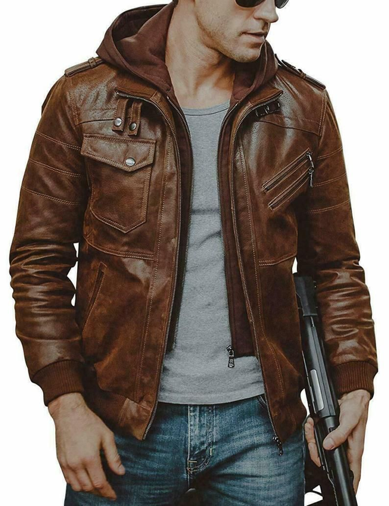 Brown Distressed Hooded Handmade Genuine Sheepskin Leather