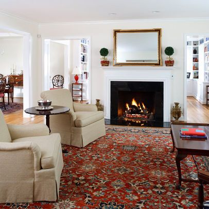 traditional living rooms with oriental rugs white and blue the red rug ties room together love it