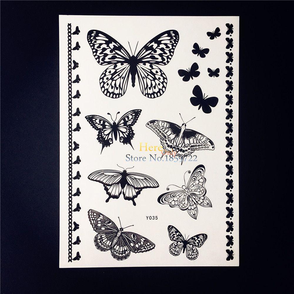 Sexy black butterfly bracelet temporary tattoo sticker waterproof
