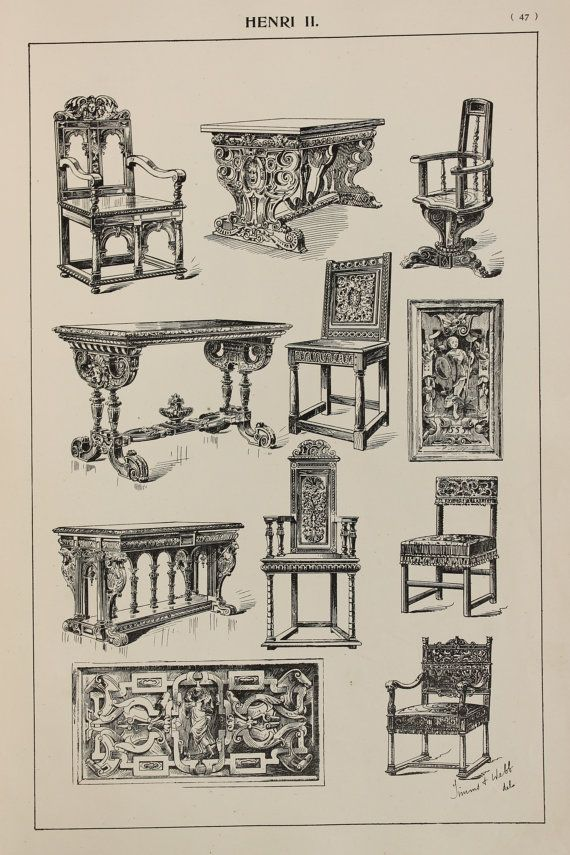 Henri II French Furniture Designs Large Antique by PaperPopinjay