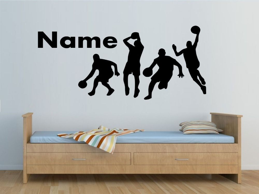 Personalised Sports Players Wall Sticker Boys Bedroom Wall Decals