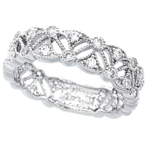 Amazon Com 14k White Gold Rhodium Plated Sterling Silver Wedding
