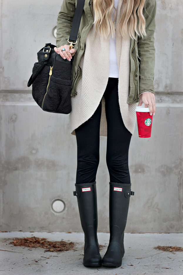 Winter Layers. Love this oversized cardigan and the boots!