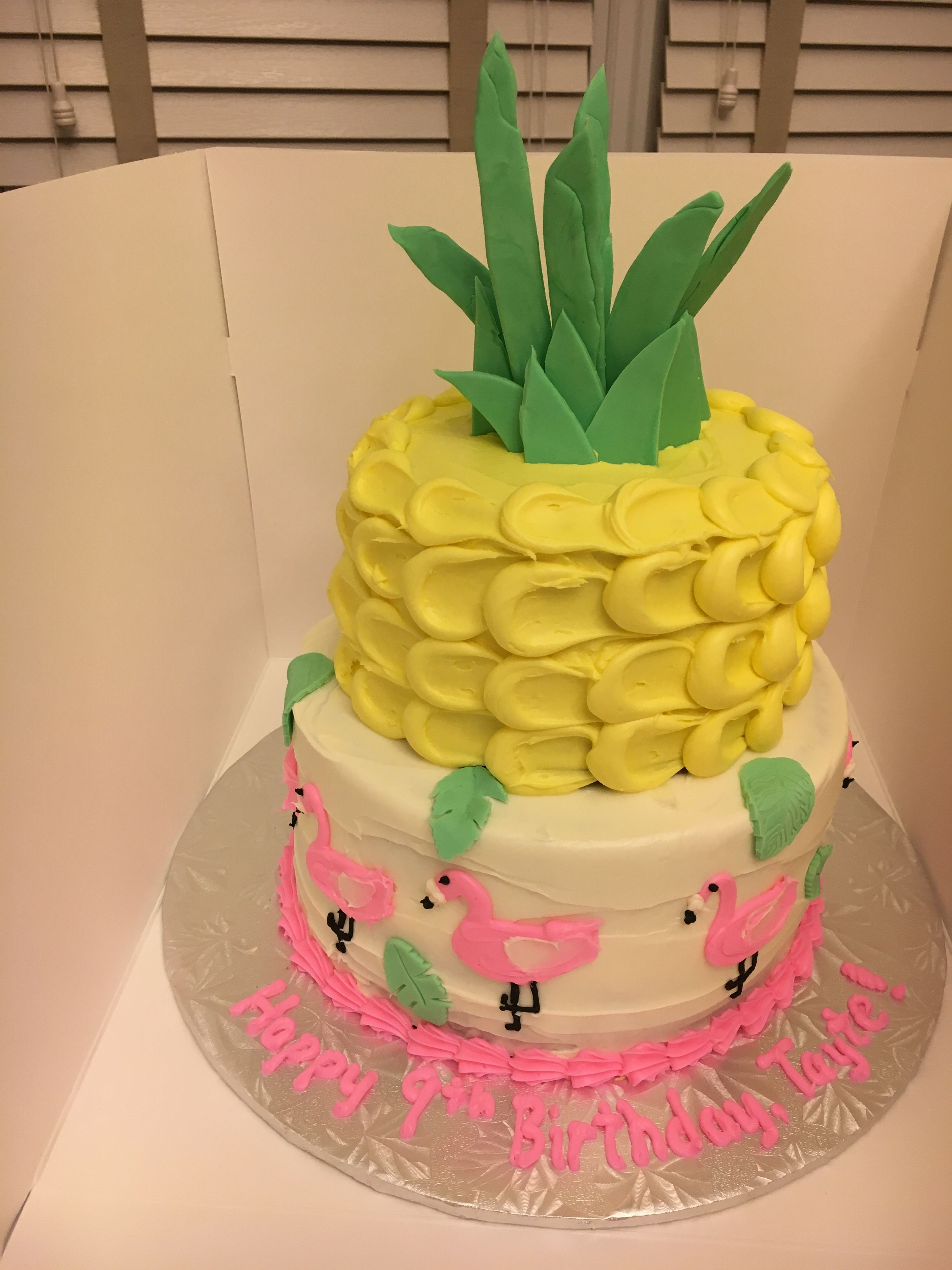 Fine Pineapple And Flamingo Summer Birthday Cake With Images Summer Personalised Birthday Cards Bromeletsinfo