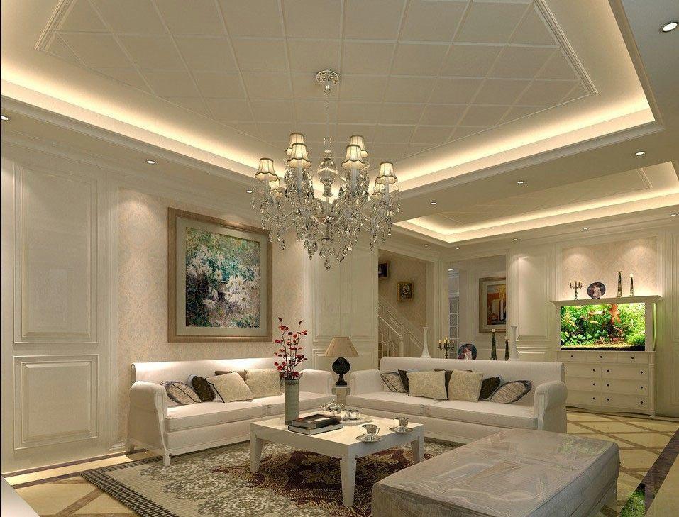 Living Room Shows Lovely Ceiling Design In Living