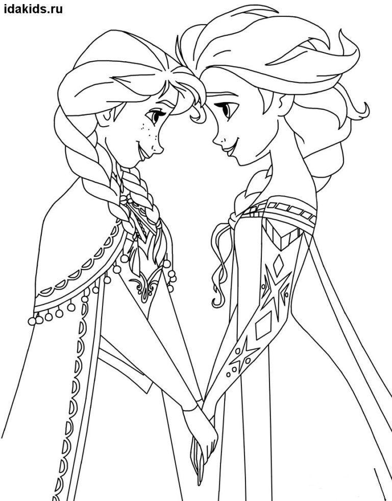 Раскраски Эльза и Анна Холодное Сердце: Распечатать ...