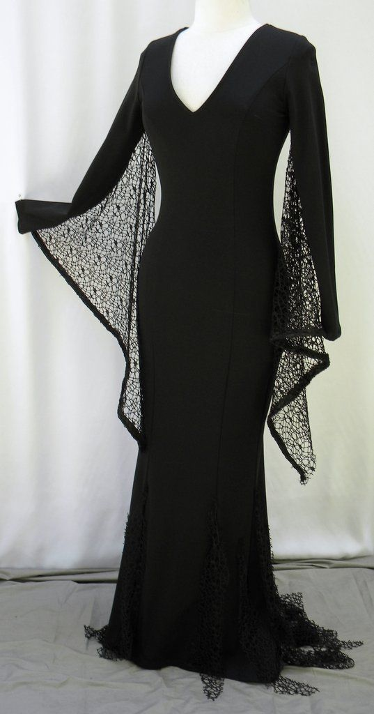 Morticia Addams Web Winged Black Witch | Pinterest | Witch dress ...