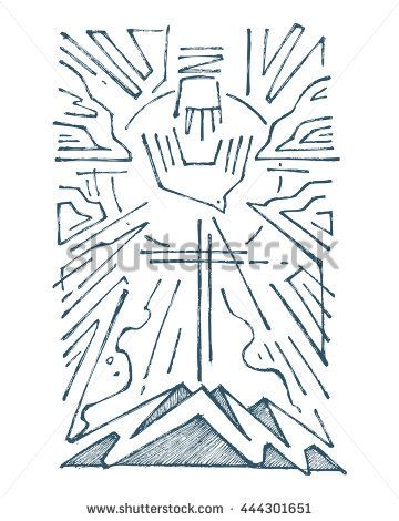 Hand drawn illustration or drawing of The Holy Trinity religious ...