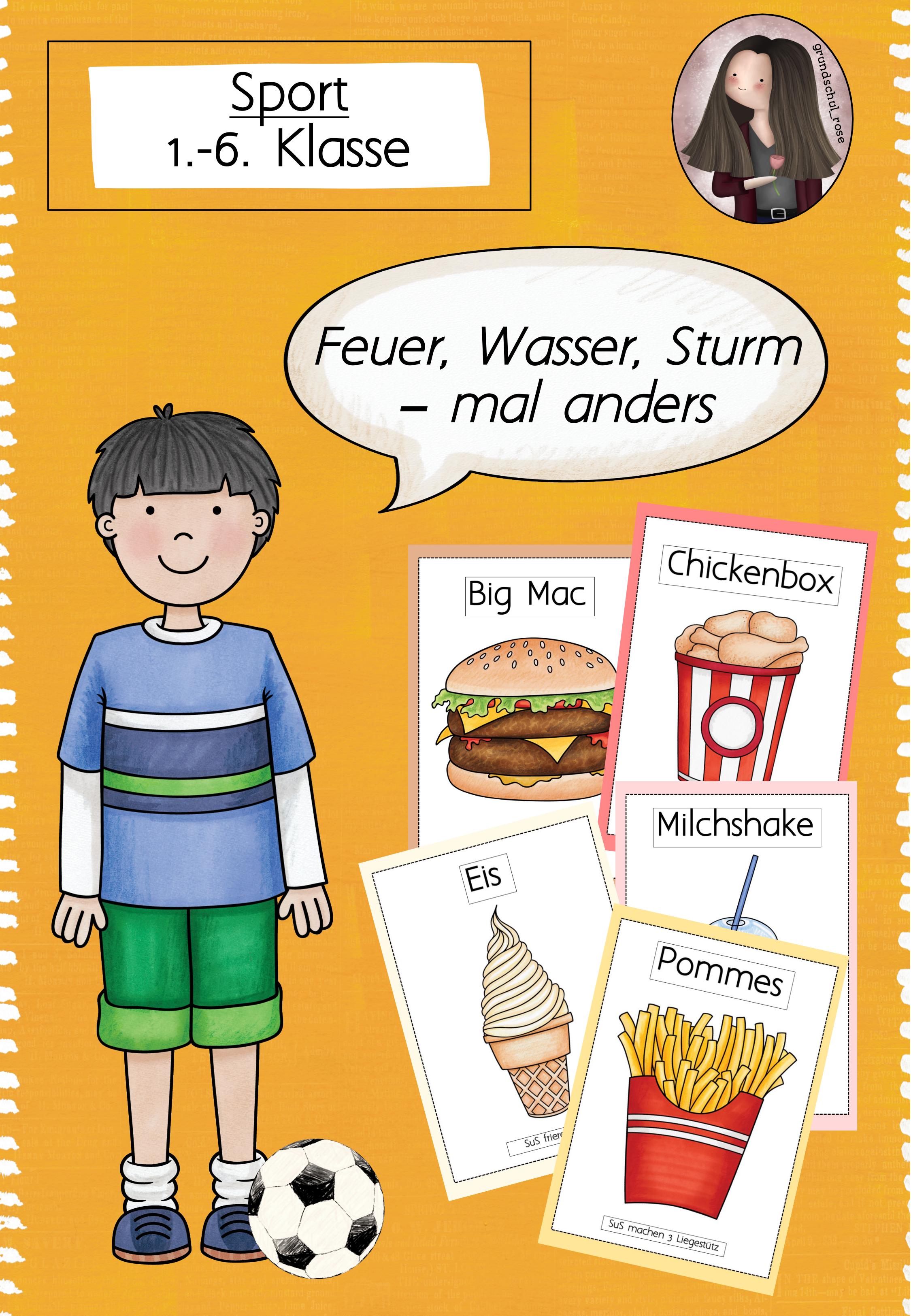 Feuer Wasser Sturm Mal Anders Fast Food Spiel Unterrichtsmaterial In Den Fachern Fachubergreifendes Sport Comics