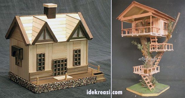 Cara Membuat Miniatur Rumah Sederhana Dari Stik Es Krim Craft Crafts