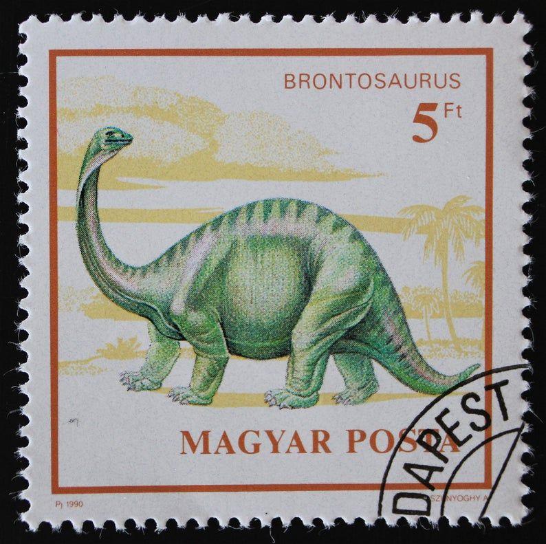 Hungary Dinosaur Postage Stamp Set // Hungarian 1990 Used Postal Stamps // Prehistoric Animals // Brontosaurus // Tarbosaurus // Dimorphodon