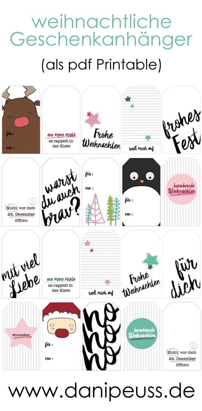 Weihnachtliche Geschenkanhänger Tags von www.danipeuss.de ...