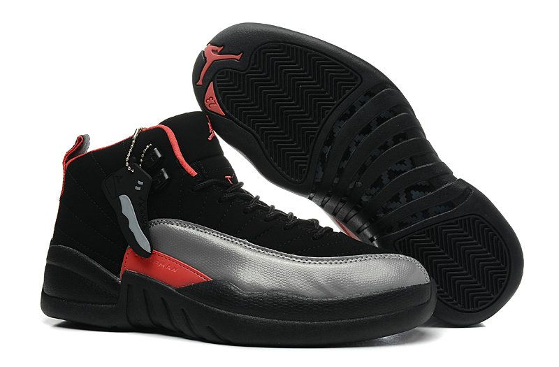 Authentic Air Jordan 12 Black Grey Red For WoOnlline For Sale